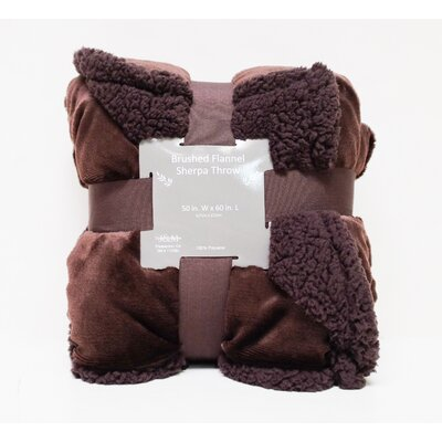 Brushed Flannel with Sherpa Back Solid Throw Color: Chocolate