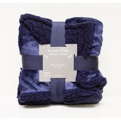 Brushed Flannel with Sherpa Back Solid Throw Color: Navy