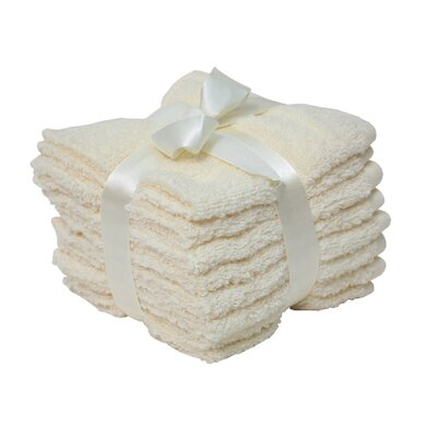 Zero Twist Washcloth 8 Piece Towel Set Color: Cream