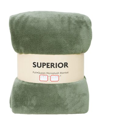 Destin Superior Fleece Blanket Color: Oil Green, Size: King