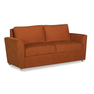 Cameron Sleeper Loveseat Upholstery: DumDum Cherry, Leg Finish: Walnut