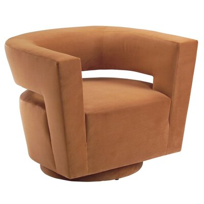 Galactica Return Swivel Barrel Chair Color: Heather Suede Grey
