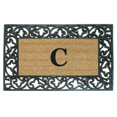 Rubber Coir Acanthus Monogrammed Door Mat Letter: C