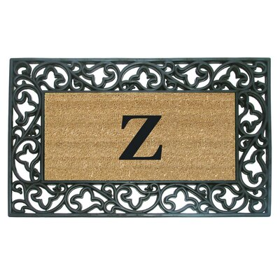 Rubber Coir Acanthus Monogrammed Door Mat Letter: Z