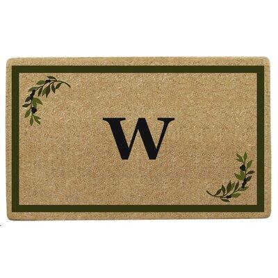 Olive Corner Border Personalized Monogrammed Doormat