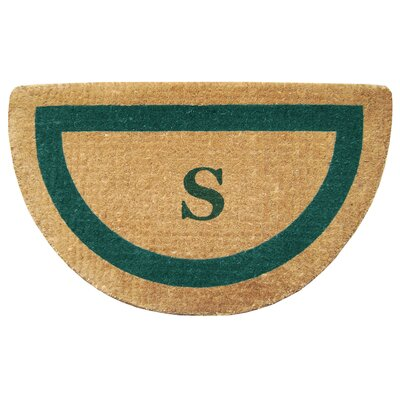 Half Round Single Picture Frame Monogrammed  Doormat Color: Green