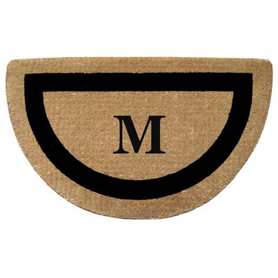 Half Round Single Picture Frame Monogrammed  Doormat Color: Black