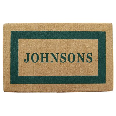 Personalized Heavy Duty Door Mat Color: Green