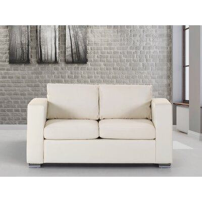 Jordon Leather Loveseat Upholstery : Beige