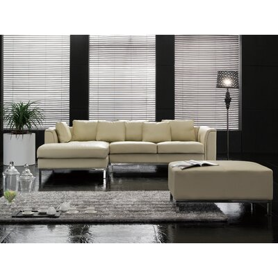 Tachani Leather Corner Sectional Upholstery: Brown, Orientation: Left Hand Facing