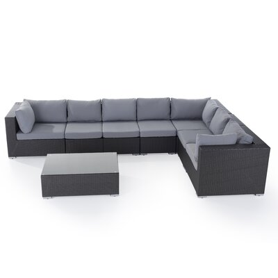 Grande 8 Piece Lounge Seating Group with Cushions Fabric: Grey