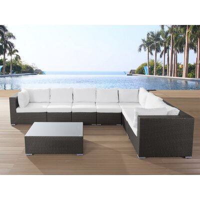 Grande 8 Piece Lounge Seating Group with Cushions Fabric: Off-White