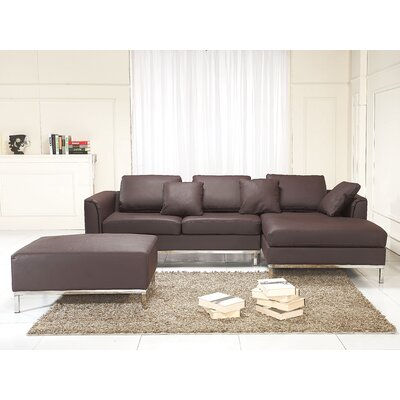Oslo 3 Piece Leather Living Room Set Upholstery: Brown