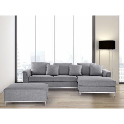 Tachani Corner Sectional Upholstery: Light Gray, Orientation: Left Hand Facing