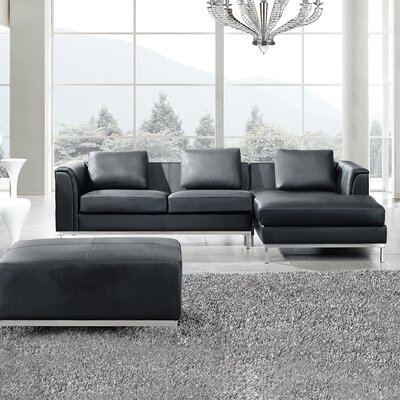 Oslo 3 Piece Leather Living Room Set Upholstery: Black