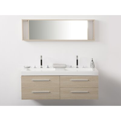 Malaga 54 Double Bathroom Vanity Set with Mirror Base Finish: Beige, Top Finish: White