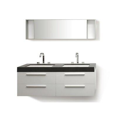 Malaga 54 Double Bathroom Vanity Set with Mirror Base Finish: White, Top Finish: Black