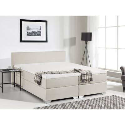 Gaskill Upholstered Box Spring Bed with Mattress Size: King, Color: Beige