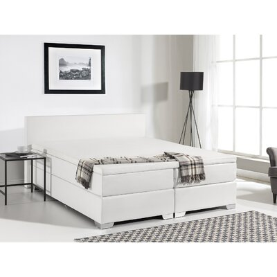 Gaskill Contemporary Upholstered Box Spring Bed with Mattress Size: Queen, Color: White