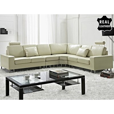 Beliani Stockholm Leather Stationary Sectional - Color: Beige at Sears.com
