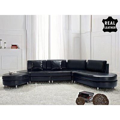 Beliani Copenhagen Leather Stationary Sectional - Color: Black at Sears.com