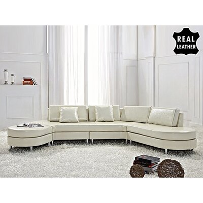 Beliani Copenhagen Leather Stationary Sectional - Color: Beige at Sears.com