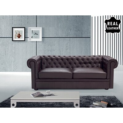 Beliani Chesterfield Leather Stationary Sofa - Color: Brown at Sears.com