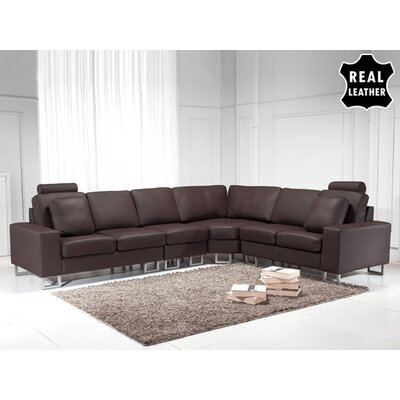Beliani Stockholm Leather Stationary Sectional - Color: Brown at Sears.com