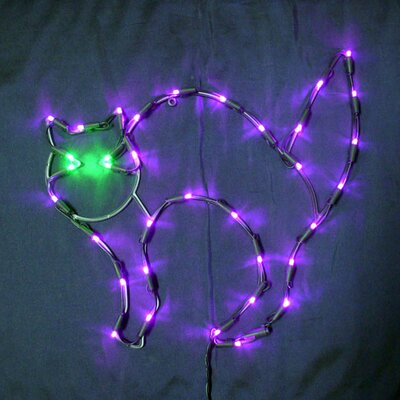 "18"" Halloween Cat with 35 Multicolored Lights"