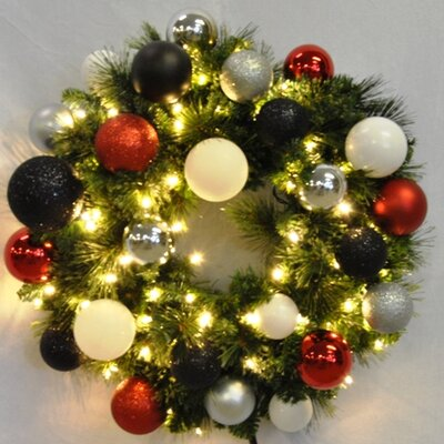 "Queens of Christmas Pre-Lit Blended Pine Wreath Decorated with Modern Ornament - Size: 60"" at Sears.com"