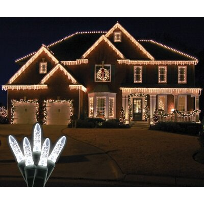 70 Light LED Icicle Light Bulb Color: Pure White / Green