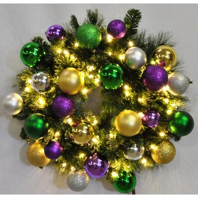 """Queens of Christmas Pre-Lit Blended Pine Wreath Decorated with Mardi Gras Ornament - Size: 24"""" at Sears.com"""