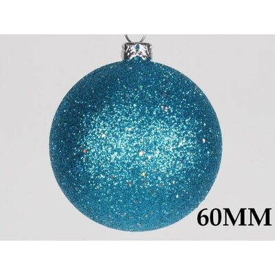 "Glitter Ball Ornament Size: 2.36"", Color: Aqua"