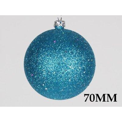 "Glitter Ball Ornament Size: 2.76"", Color: Aqua"