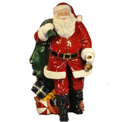 Santa Claus Holding Belly Figurine with Gift