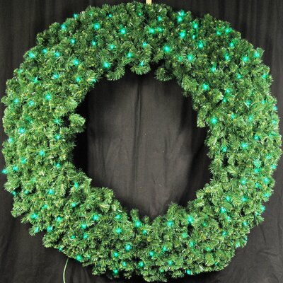 "Queens of Christmas Pre-Lit LED Blue Sequoia Wreath - Color: Green, Size: 72"" at Sears.com"