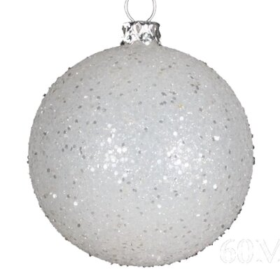 "Queens of Christmas Glitter Ball Ornament (Set of 12) - Size: 3.9"", Color: Silver"