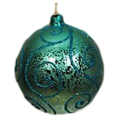 Ball Ornament Glitter (Set of 4) Color: Teal with Aqua