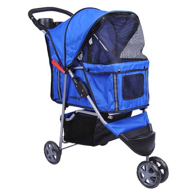3-Wheel Front & Rear Entry Pet Stroller Color: Blue