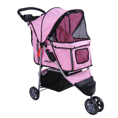 3-Wheel Front & Rear Entry Pet Stroller Color: Pink