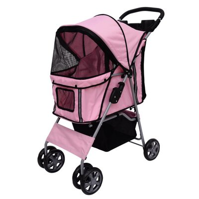 4-Wheel Front & Rear Entry Pet Stroller Color: Pink