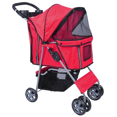 4-Wheel Front & Rear Entry Pet Stroller Color: Red