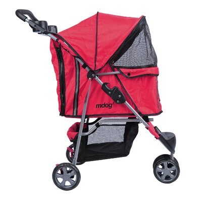 3-Wheel Front & Rear Entry Pet Stroller Color: Red