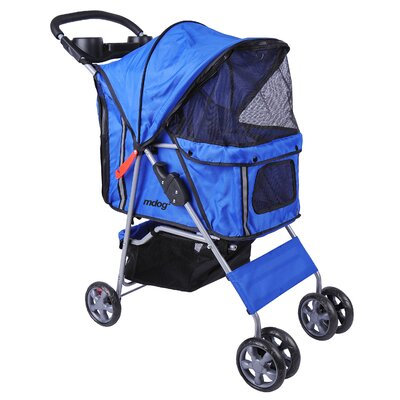 4-Wheel Front & Rear Entry Pet Stroller Color: Blue