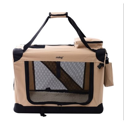 Portable Soft Pet Crate Size: Large (23 H x 23 W x 32 L), Color: Sand