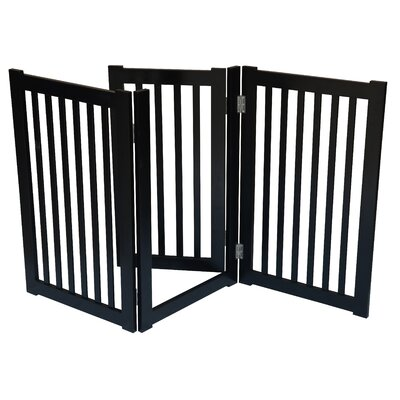 3 Panel Free Standing Pet Gate Finish: Black
