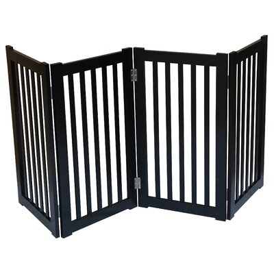 4 Panel Free Standing Pet Gate Finish: Black