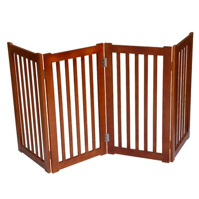 4 Panel Free Standing Pet Gate Finish: Light Oak