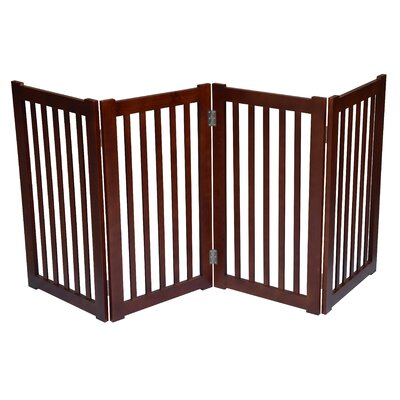 4 Panel Free Standing Pet Gate Finish: Dark Walnut