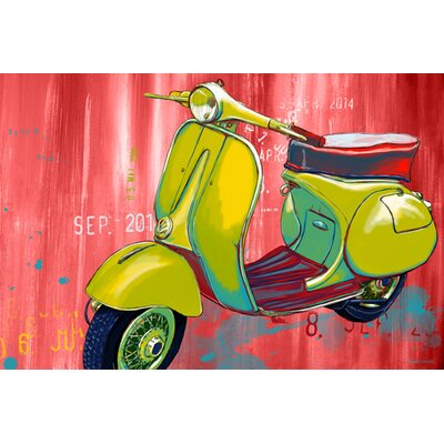 'Vintage Scooter' Graphic Art on Wrapped Canvas Size: 40